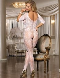 Open Crotch Rose Pattern White Lace Bodystocking