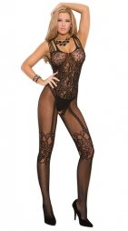 Black bodystocking with black printed design