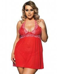 Plus Size Red Floral Halter Babydoll With G-String