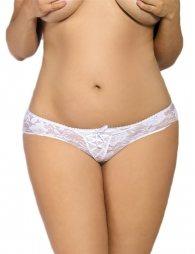 Plus Size White Crotchless Open Crotch Lace Thongs