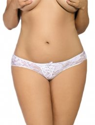 Plus Size White Crotchless Open Crotch Lace Thongs