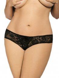 Plus Size Open Crotch Strappy Black Lace Thongs