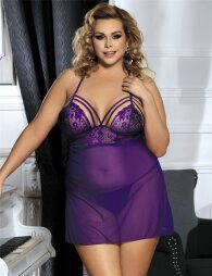 Purple Plus Size Springtime Babydoll Set