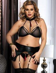 Plus Size Boudoir Flirty Black Bra Set