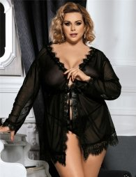 Black Lace Plus Size Trim Robe With Thong