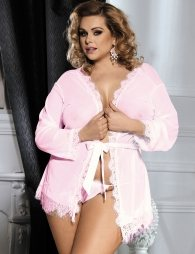 Pink Plus Size Lace Trim Robe With Thong