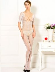 White bodystocking with crotch opening