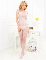 White bodystocking with lace and opening on crotch