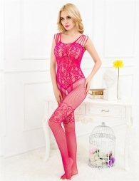 Pink bodystocking with lace and opening on crotch