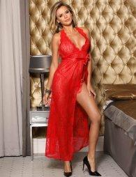 Backless Halter Long Red Dress