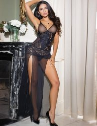 Exquisite Black Lace V Neck Sleepwear Gown