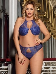 Plue size delicate lace bra set with bra rim and bra pad