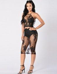 Black Elegant Deluxe Decals Fashion Dress