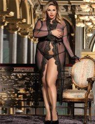 Plus Size Black Delicate Lace Long Sleepwear Gown