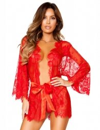 Belted Red Eyelash Lace Sleepwear Gown