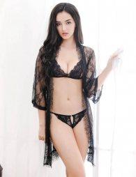 Eyelash Black Lace Sleepwear Lingerie Set