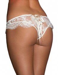 Plus Size White Ribbon Eyelashes Lace Panty