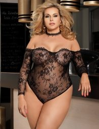 Plus Size Black Eyelashes Lace Long-sleeved Teddy