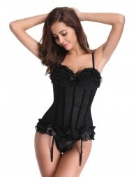 Black cute bow lace corset