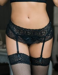 Plus Size Black Sexy Lace Garter Panty