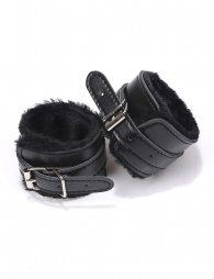 Black SM Bondage Sex Leather Handcuffs