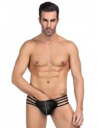 Leather Black Sexy Zipper Panty