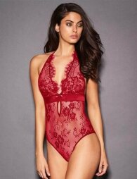 Red Deep V Backless Exquisite Lace Teddy