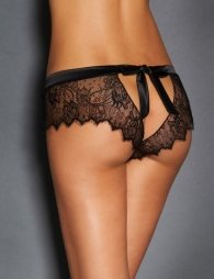 Plus Size Sexy Black Lace Silk Strappy Panty