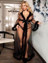 Plus Size Black Robe Perspective Sheer Sleepwear With Fur