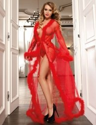 Queen Red Robe Perspective Sheer With Fur