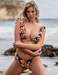 Big Ruffle Color Printed Sexy Swimwear
