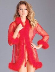 Red Perspective Sleepwear With Fur