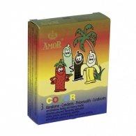 Amor Color Mixed Fruits Condoms 3 Pcs