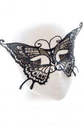 Black Lace Crochet Butterfly Party Mask