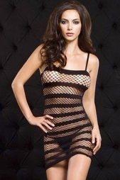 Black Striped Fishnet Mini Chemise Dress