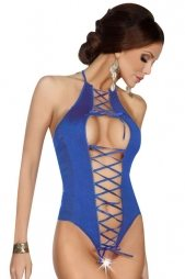 Sexy Ribbon Lace-up Front Blue Teddy