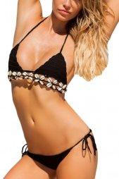 Black Crochet Bikini Swimsuit with Shells