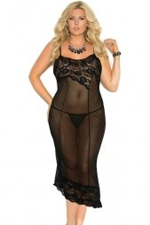 Plus Size Sexy Lace Decorate Mesh Gown