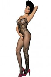 Sleeveless Floral Tattoo Bodystocking