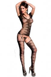 Black Zig Zag Motif Net Bodystocking