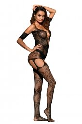 Black Pothole Cutout Bare Shoulder Lace Bodystocking
