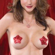 Κόκκινο κάλυμμα στήθους με πούλιες Nipple Cover